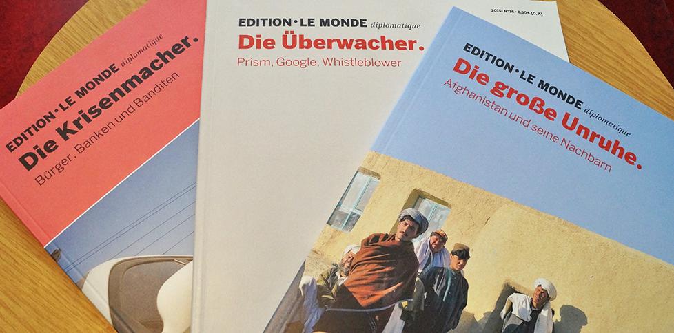 Drei Beispielausgaben der EDITON - LE MONDE diplomatique