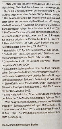 """Quellen zum Artikel """"Grexit und was dann?"""" von Niels Kadritzke, Juni '15"""