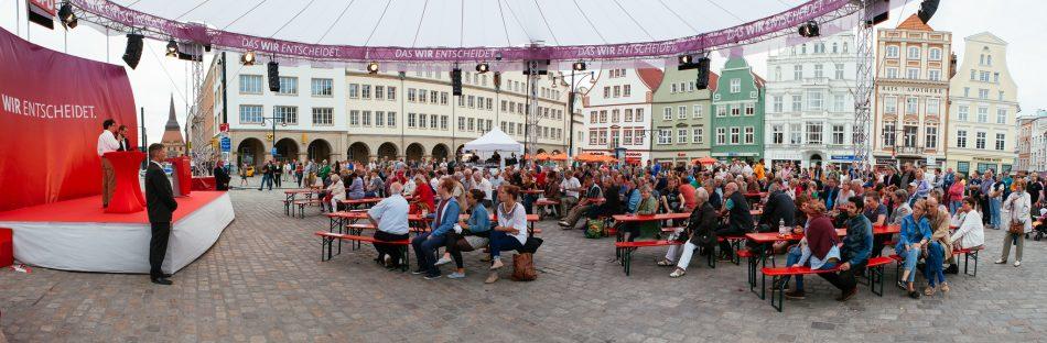 SPD Wahlkampfveranstaltung Rostock, Parte ergreifen