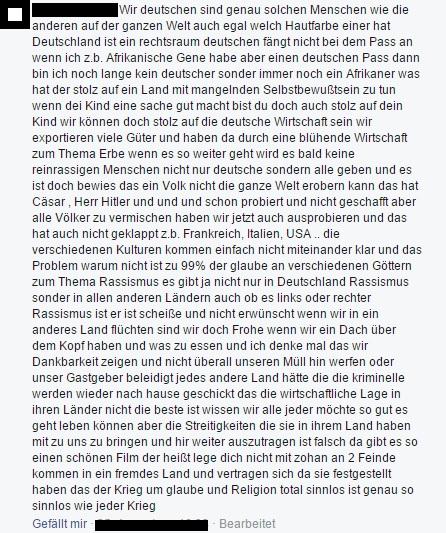 Kommentar eines fb-Users innerhalb einer Diskussion um Strafanzeigen gegen Volksverhetzer, auf die Nachfrage, was so toll an Patriotismus und dem identitären Erbe Deutschlands sei.