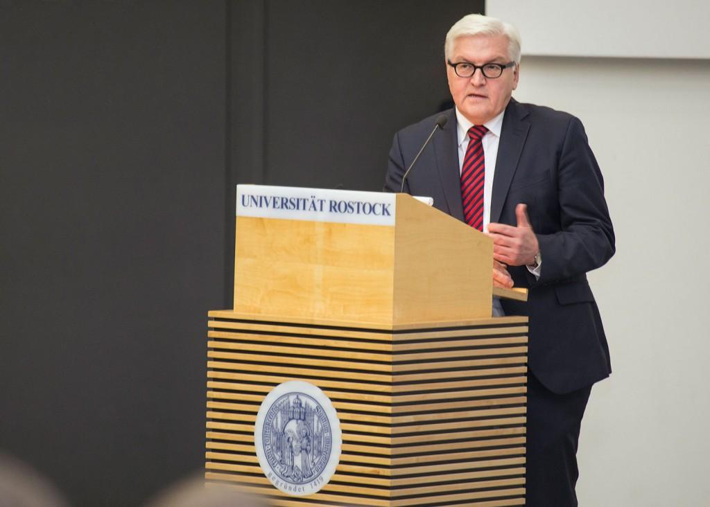 Steinmeier während seines Vortrags. Foto: ITMZ Uni Rostock / Thomas Rahr